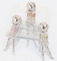 Trendy Girl Teenager Pendant Necklace Sterling Silver Cz Color Choice - $43.59 CAD