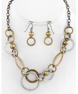 Antique Style Two Tone Metal Circles Beaded Fashion Necklace Set - $14.39