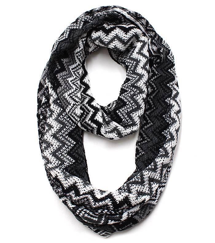 Trendy Textured Infinity Scarf Zig Zag Black Gray White 16 x 28 Acrylic
