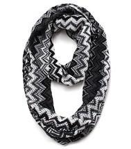 Trendy Textured Infinity Scarf Zig Zag Black Gray White 16 x 28 Acrylic - £13.31 GBP