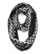 Trendy Textured Infinity Scarf Zig Zag Black Gray White 16 x 28 Acrylic - £14.22 GBP