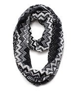 Trendy Textured Infinity Scarf Zig Zag Black Gray White 16 x 28 Acrylic - $18.71