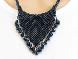 Trendy Black Seed Bead Mesh Crystal Glass Bib Necklace - £17.55 GBP