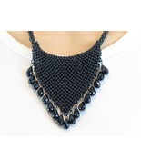 Trendy Black Seed Bead Mesh Crystal Glass Bib Necklace - $21.83