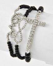 Black Bead Rhinestone Cross Word Love Infinity Stretch Bracelet Set Silver Tone - $15.59