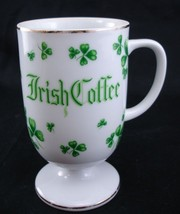 Irish Coffee Mug Shamrocks By Lefton China 1983 White Cup Mug Green Sham... - $9.98