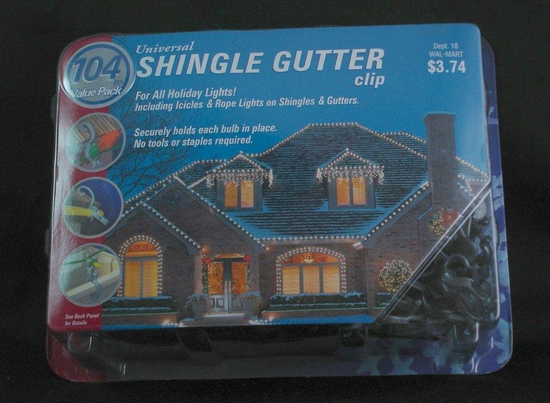 Christmas Lights Shingle Gutter 104 Clips Outdoor Holiday New