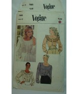 Sewing Pattern VOGUE 7985 Vintage Blouse Round Neck Ruffle Size 8 - $4.93