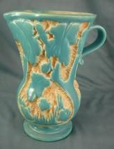 Vintage Porcelain Pitcher Leaf Tree Design Turquoise Made in England Relief - $45.99