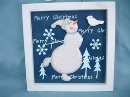 "Snowman Merry Christmas Décor Wall Hanging 8""x 8"" New Wooden - $5.99"