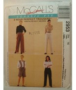 Sewing Patterns McCalls 2953 Classic Fit 3 Hour Perfect Trousers size 16... - $24.99