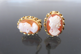 Vintage 14K Solid Yellow Gold Shell Cameo Clip on Earrings - $415.00