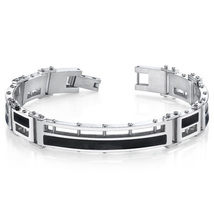 Mens Black Enamel Stylish High Polish Stainless Steel Bracelet