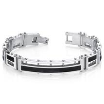 Mens Black Enamel Stylish High Polish Stainless Steel Bracelet - $84.99