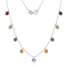 14k White Gold Necklace Multi Color CZ Round Shape In Bazel By The Yard ... - $134.34+