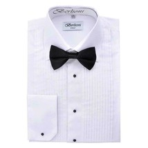 Berlioni Italy Men's Premium White Tuxedo Dress Shirt Laydown Collar Bow-Tie 4XL