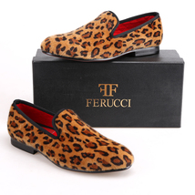FERUCCI Brown custom-made Leopard Print  Slippers loafers - $159.99