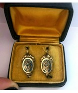 Vintage Rare 14K Gold & Rolled Gold & Enamel Floral Motif Earrings with Box - $217.77