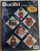 "Bucilla Counted Cross Stitch Santa and Toys Christmas 3""x3"" Set Kit 1998... - $18.99"