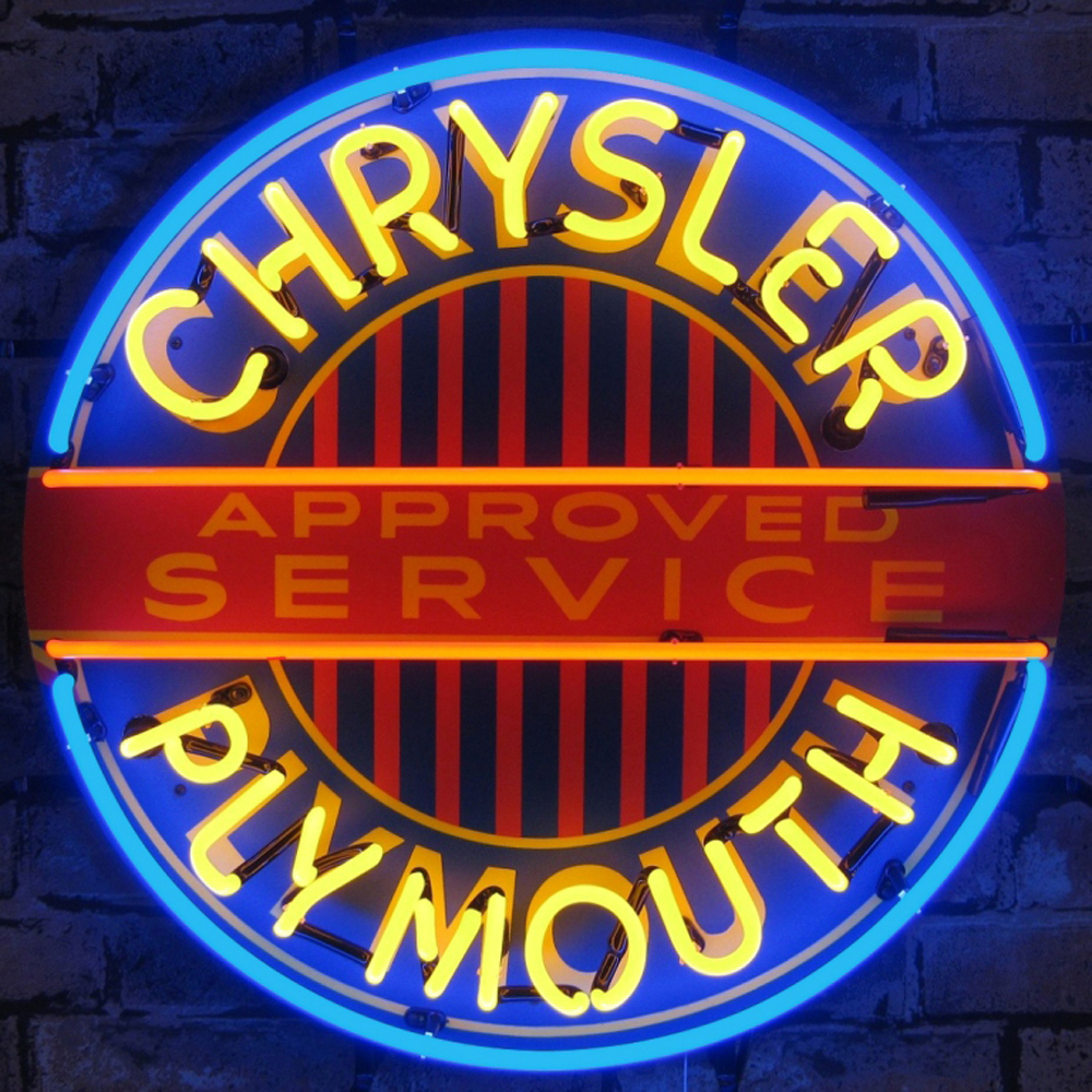 Neonetics Chrysler plymouth neon sign with backing