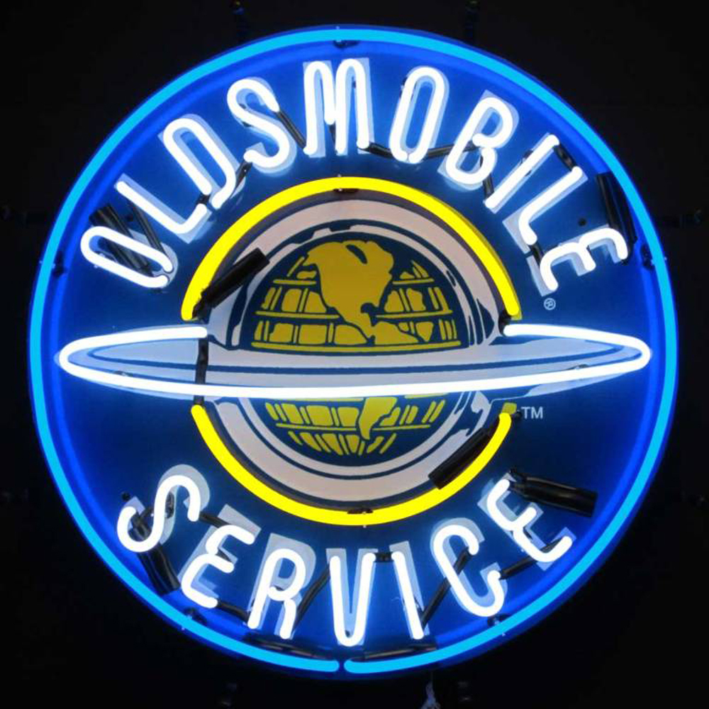 Neonetics Oldsmobile service neon sign with silkscreen backing