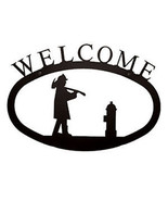 Wrought Iron Welcome Sign Fireman Silhouette Large Outdoor Plaque Home D... - $21.99