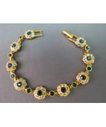 Joan Rivers QVC Flower Bracelet Sapphire and Em... - $44.54