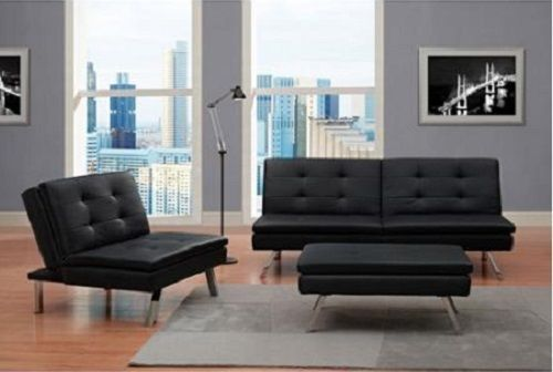 modern black faux leather ottoman living room furniture