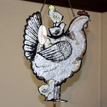 Enamel Metal Country Western Farm Barn Chicken Hen Chick Bird Seed Feeder Tray image 3