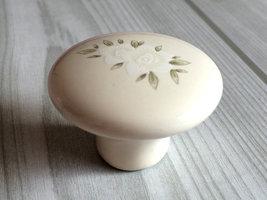 Dresser Knob Drawer Knobs Pulls Handles Cream White Flower Kitchen Cabinet Knobs image 2