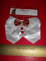 SimplyCat Pet Costume Cat Christmas Holiday Bow-Tie Fashion OSFM White C... - $5.69