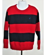 Nautica Pullover Sweater Red Navy Blue Wide Stripes 100% Cotton Boys Lar... - $15.83