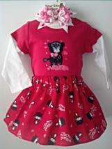 Toddler Valentine (or not) T-Shirt, Skirt, Pants & Barrette - Kitty Size... - $25.95