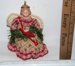 """Vintage Electric Lighted Porcelain/Canvas Angel Christmas Tree Topper 6""""... - $9.00"""