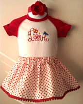 Infant Bodysuit - Valentine? Love - Sz 6 mo - Skirt, Headband & Shoes - $26.95