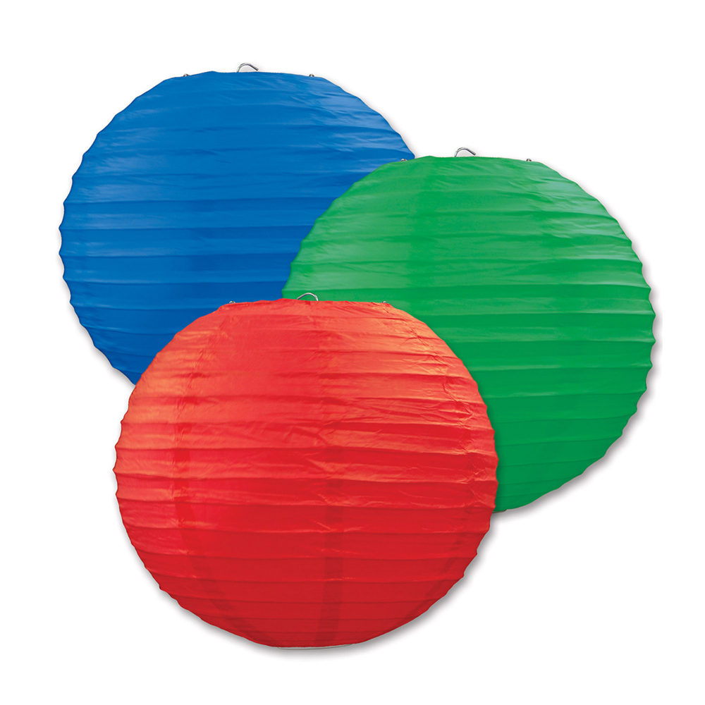 "Beistle Paper Lanterns Red, Blue, Green 9.5"" (3 Count)- Pack of 6"