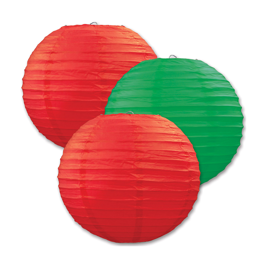 "Beistle Paper Lanterns Red & Green 9.5"" (3 Count)- Pack of 6"