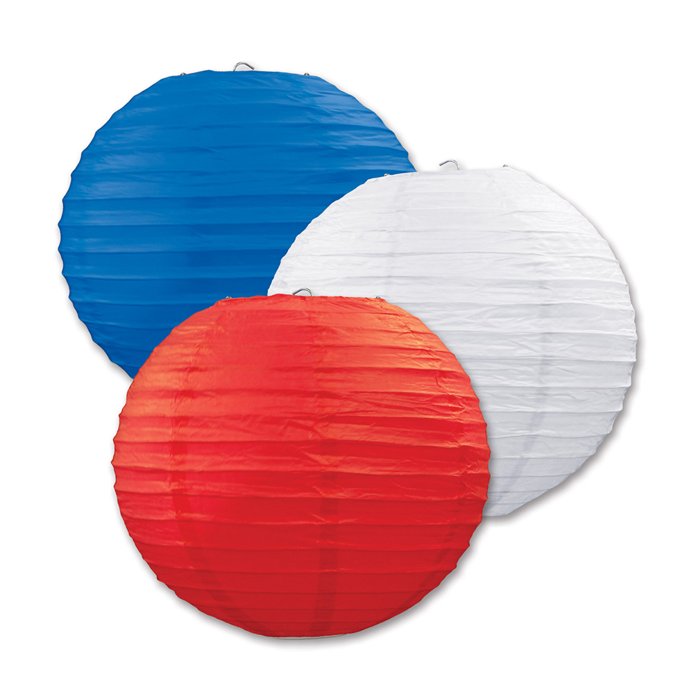 "Beistle Paper Lanterns Red, White, Blue 9.5"" (3 Count)- Pack of 6"