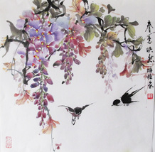 Flower Blossom Wisteria traditional watercolor painting on rice paper wa... - $135.49
