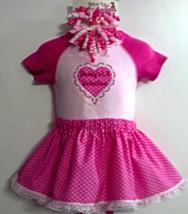 Infant Bodysuit, Skirt & 2 Corker Barrettes - Daddy's Lil Valentine - Si... - $19.95