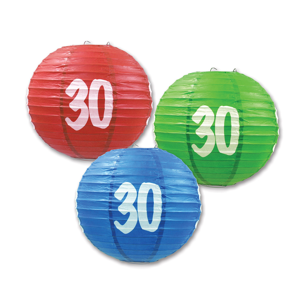 "Beistle 30 Paper Lanterns 9.5"" (3 Count)- Pack of 6"