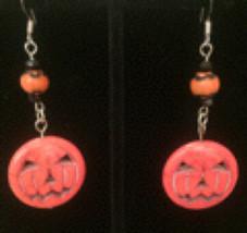 Stone Jack O' Lantern with Glass and Swarovski Bead Earrings - $13.00