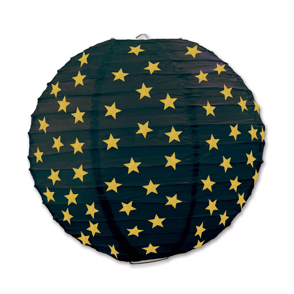 "Beistle Star Paper Lanterns Black & Gold 9.5"" (3 Count)- Pack of 6"