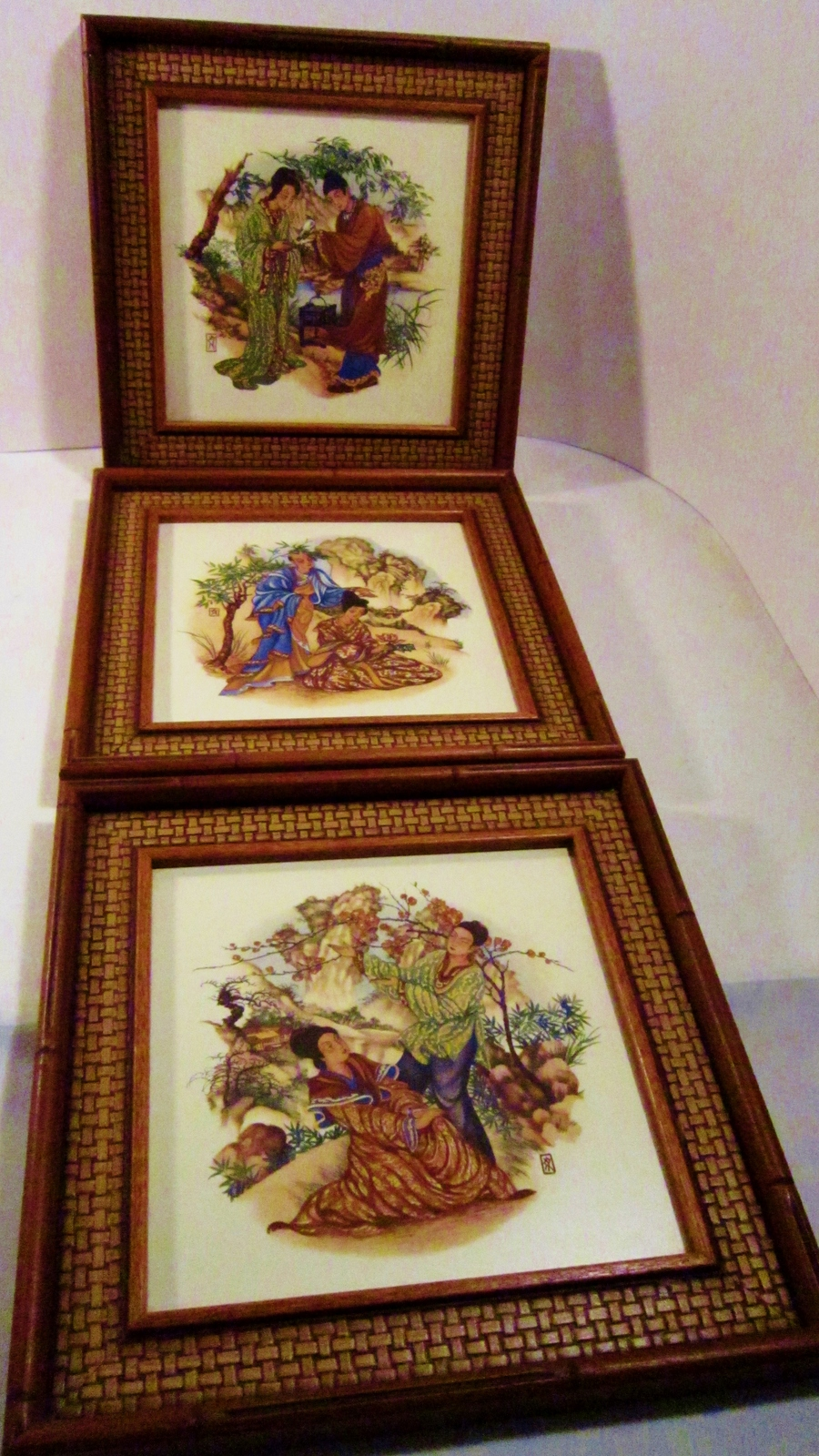 Three Framed Art Tiles 1960s Greenville South Carolina
