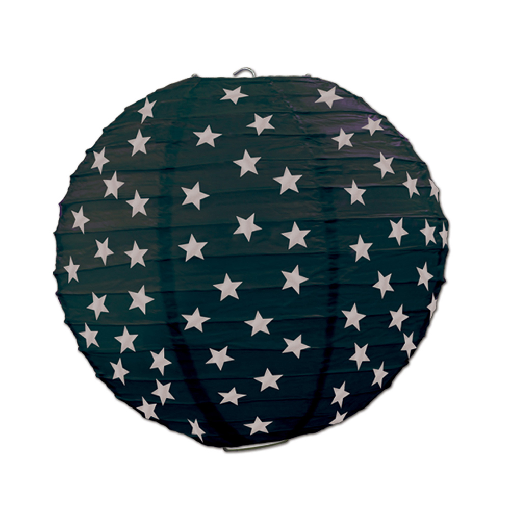 "Beistle Star Paper Lanterns Black & Silver 9.5"" (3 Count)- Pack of 6"