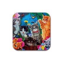 Cute Sweet Cat Kitty Kitten Pet Animal (Square) Rubber Coaster - $2.99