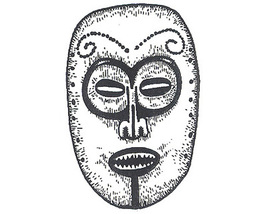 Unmounted Rubber Stamp: Mask #5 - Central American - $2.75