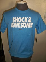 BOY'S YOUTH KIDS NIKE SHOCK & AWESOME SHORT SLEEVE TEE T SHIRT BLUE NEW ... - $14.99