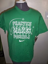 BOY'S YOUTH KIDS NIKE PRACTICE MAKES POSSIBLE TEE T SHIRT GREEN W/ WHITE... - $12.99