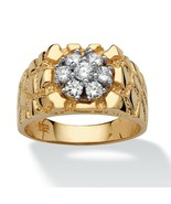 Men's .75 TCW CZ 18k Gold over Silver Nugget-Style Ring - $84.82